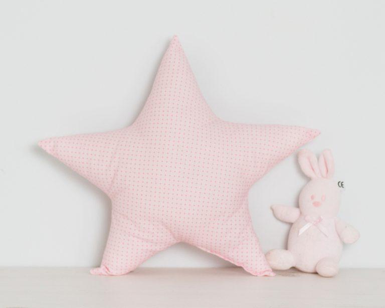 Pagalvė rožinė taškuota žvaigždutė