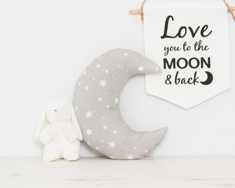 Pagalvė pilkas su žvaigždutėmis mėnulis